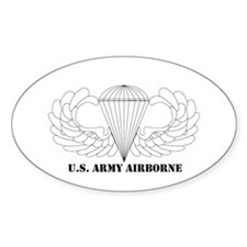Clear Airborne Wings Oval Decal