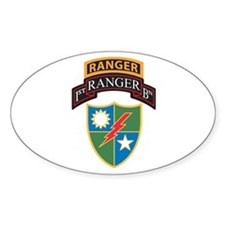 1st Ranger Bn with Ranger Tab Oval Decal