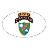 2nd Ranger Bn with Ranger Tab Oval  Aufkleber
