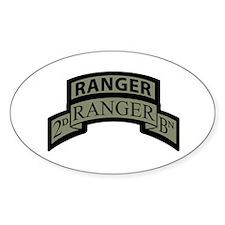 2nd Ranger Bn Scroll/Tab ACU Oval Decal
