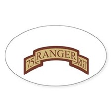 75th Ranger Regt Scroll Deser Oval Decal