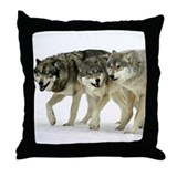 Wolf Trio Throw Pillow