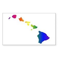 Rainbow Hawaii Rectangle Sticker 10 pk)