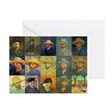 van Gogh Self Portraits Montage Greeting Cards (Pk