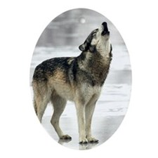 Tristan Howling Wolf Oval Ornament