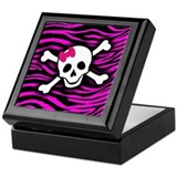Pink Zebra Skull Jewellery Box