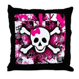 Scene Girl Skull Throw Pillow