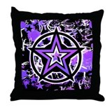 Purple Star Throw Pillow