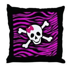 Pink Zebra Skull Throw Pillow