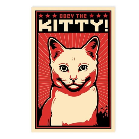 Obey the Kitty! WHITE CAT Postcards (Package of 8)