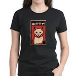 Obey the Kitty! WHITE CAT - Women's Dark T-Shirt