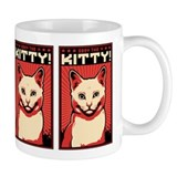 Obey the Kitty! WHITE CAT Propaganda Small Mug