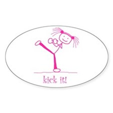 kick it! (pink) Oval Decal