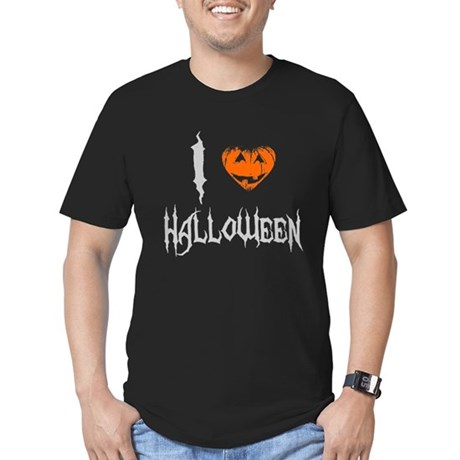 I Love Halloween Mens Fitted Dark T-Shirt