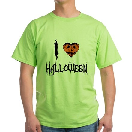 I Love Halloween Green T-Shirt