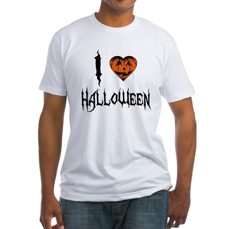 I Love Halloween Fitted T-Shirt