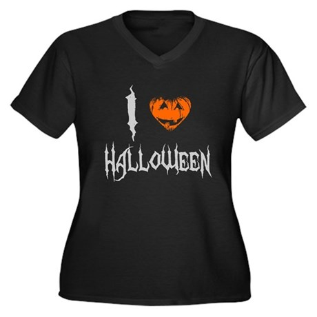 I Love Halloween Womens Plus Size V-Neck Dark T-S