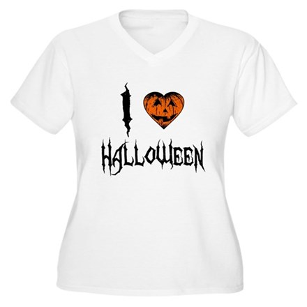 I Love Halloween Plus Size V-Neck Shirt