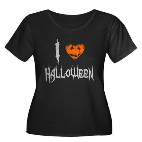 I Love Halloween Womens Plus Size Scoop Neck Dark