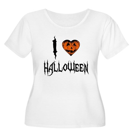 I Love Halloween Womens Plus Size Scoop Neck T-Sh