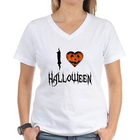I Love Halloween Womens V-Neck T-Shirt