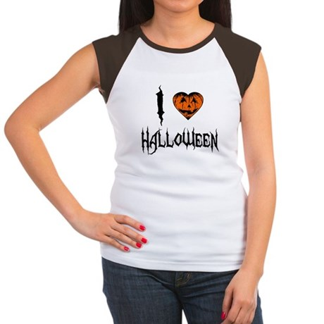 I Love Halloween Womens Cap Sleeve T-Shirt