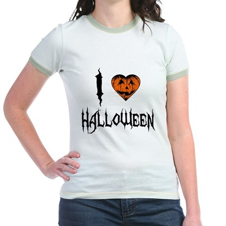 I Love Halloween Jr Ringer T-Shirt