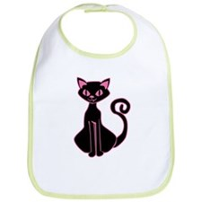 Retro Pink And Black Cat Bib