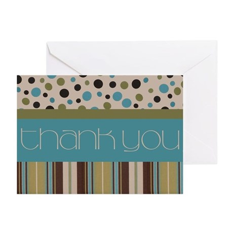 Thank You (Spots & Stripes) Greeting Cards (Pk of