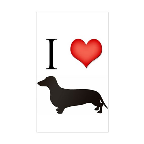 doxie love Rectangle Sticker