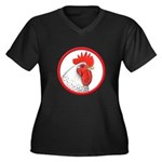 Rooster Circle Women's Plus Size V-Neck Dark T-Shi