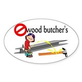 No wood butcher's Oval Sticker (10 pk)