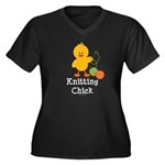 Knitting Chick Women's Plus Size V-Neck Dark T-Shi