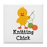 Knitting Chick Tile Coaster