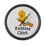 Knitting Chick Large Wall Clock