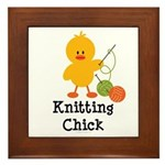 Knitting Chick Framed Tile
