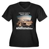 Midland California Women's Plus Size V-Neck Dark T