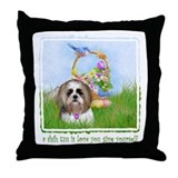 Shih Tzu Spring Bluebird Meiko Throw Pillow