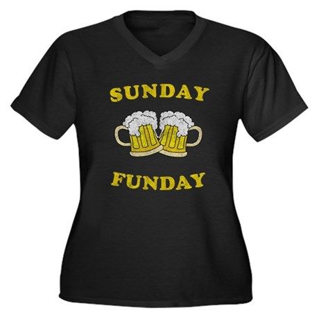 Sunday Funday Womens Plus Size V-Neck Dark T-Shir