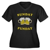 Sunday Funday Women's Plus Size V-Neck Dark T-Shir