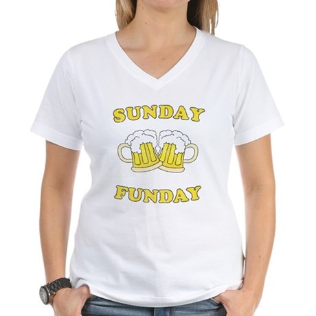 Sunday Funday Womens V-Neck T-Shirt