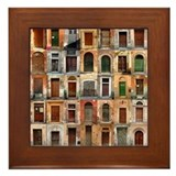 Colorful old doors Art Framed Tile