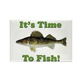 "Genuine Walleye ""It's Time to Fish"" Rectangle Magn"
