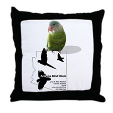 Arizona Bird Clinic Grey Cheek Throw Pillow