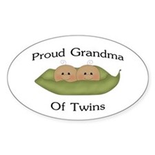 Proud Grandma Of Twins Oval Decal