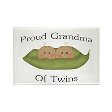 Proud Grandma Of Twins Rectangle Magnet