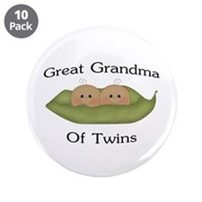 "Great Grandma Of Twins 3.5"" Button (10 pack)"