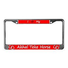 Red I Love My Akhal Teke Horse License Plate Frame