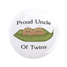 """Proud Uncle Of Twins 3.5"""" Button"""