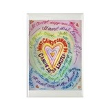 Rainbow Cancer Heart Text Rectangle Magnet (10 pac